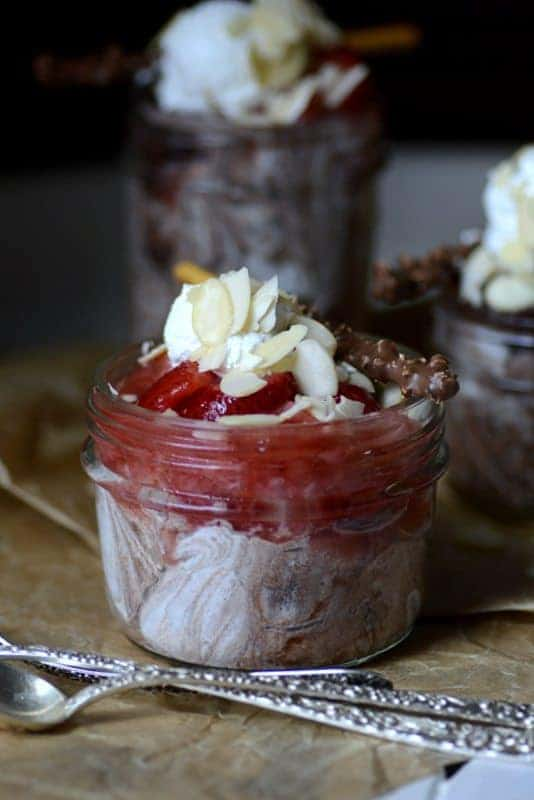 strawberry chocolate mousse jar