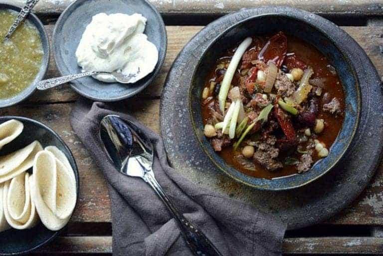 slow cooker aussie grassfed beef cowboy caviar layered chili