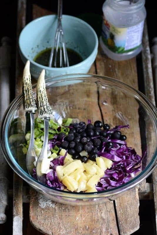 crunchy pineapple blueberry slaw