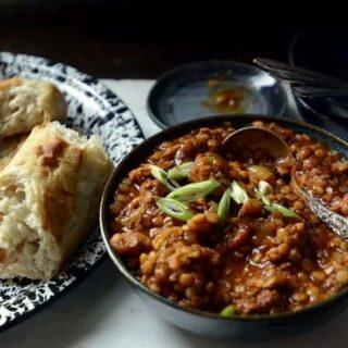 slow cooker caribbean jerk pork and red lentils