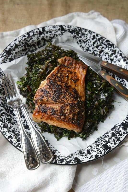 pan seared salmon & fresh greens
