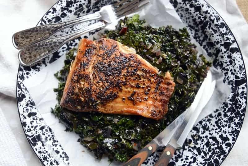 pan seared salmon & fresh greens
