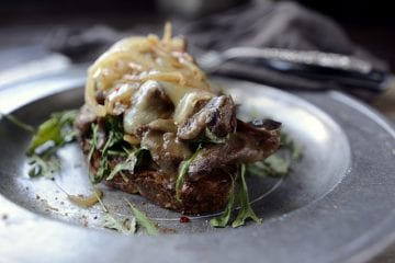 dinner style french onion beef sandwich