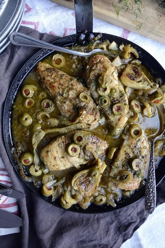 one skillet greek chicken fennel onions and olives