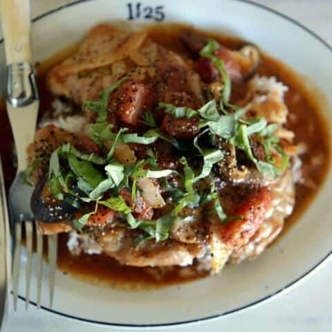 Smothered Creole Pork Chops Tomatoes & Mushrooms