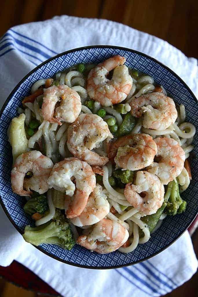 shrimp veggie noodle bowl