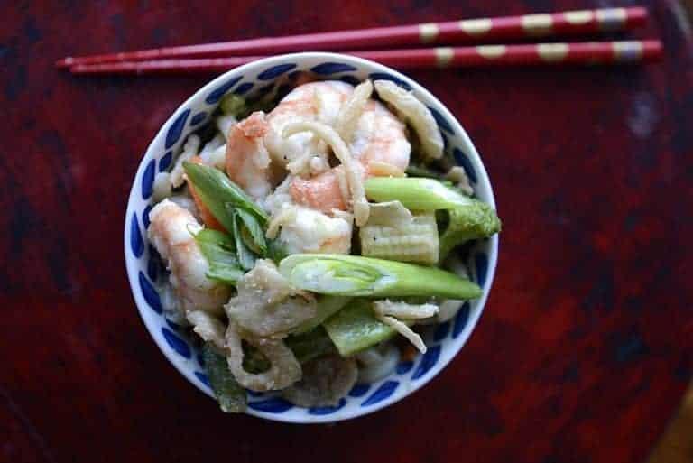 shrimp udon noodle bowl