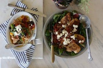 skinny girl harissa chicken tomatoes onions & feta