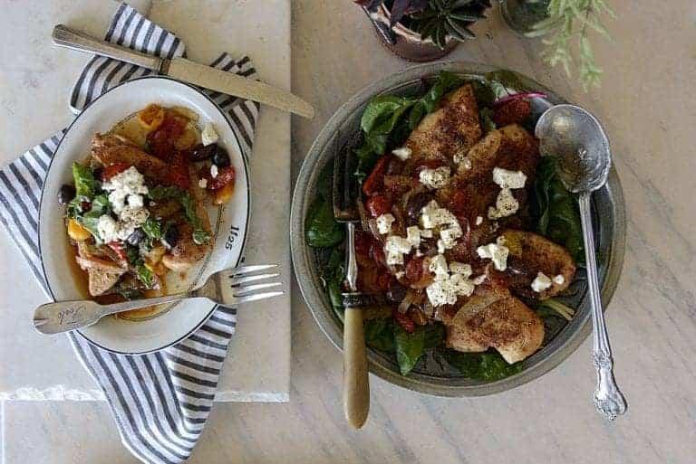 harissa chicken tomatoes onions & feta