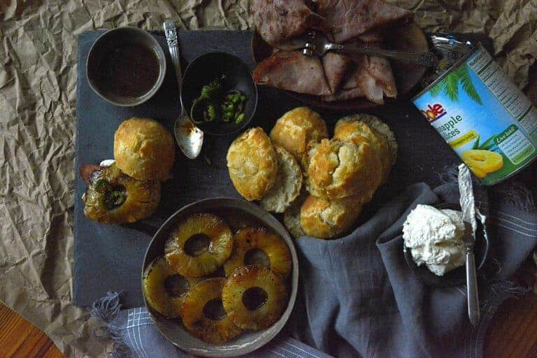 grilled pineapple ham biscuits