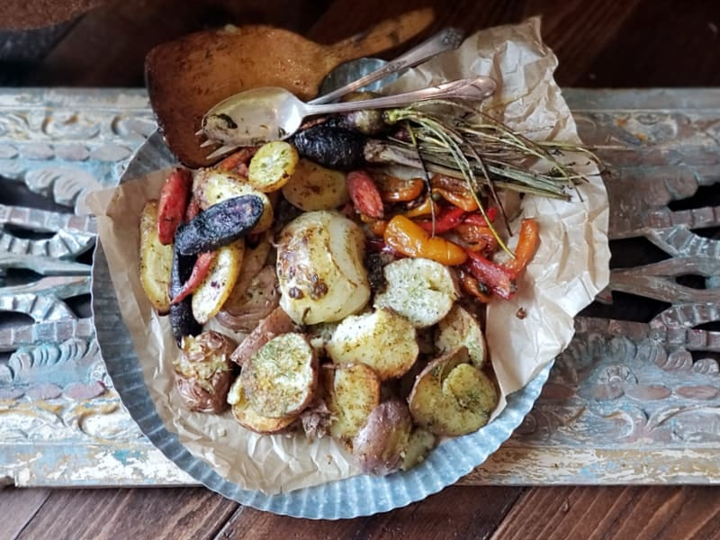 oven roasted garlic and herb veggies