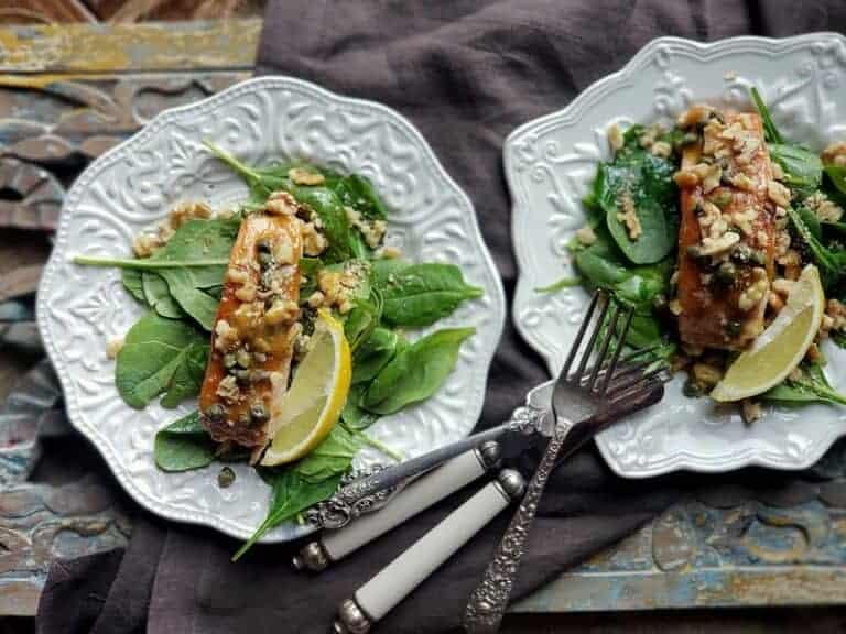 Honey Mustard Salmon and Walnuts