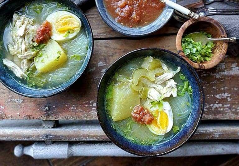 soto ayam with sambal sauce