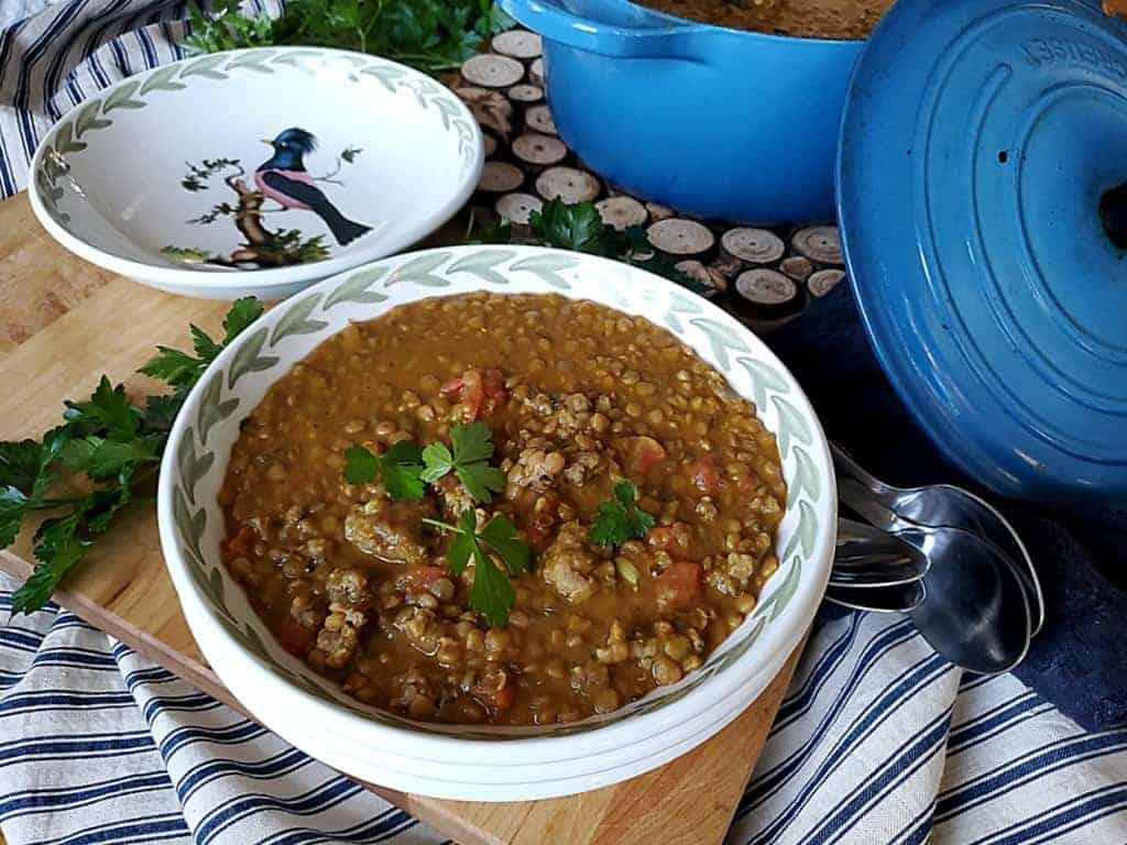 spiced lentil sausage soup