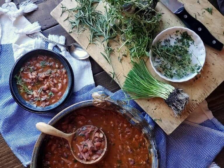 smoked anasazi beans fresh herbs