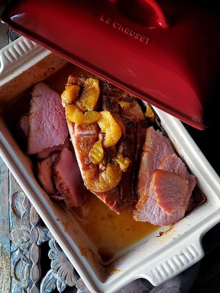 apricot ginger glazed ham