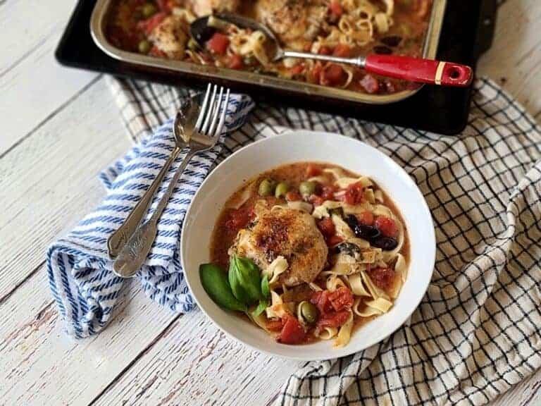 one-pan baked italian chicken pasta