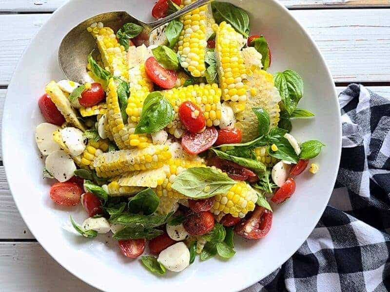 farm fresh corn caprese salad