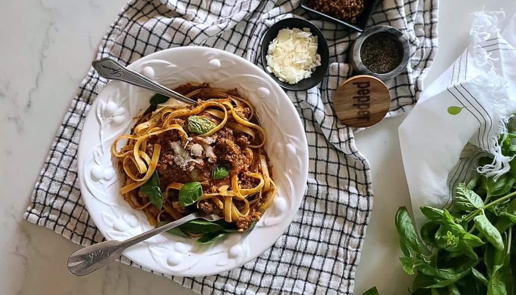almond parmesan bolognese sauce