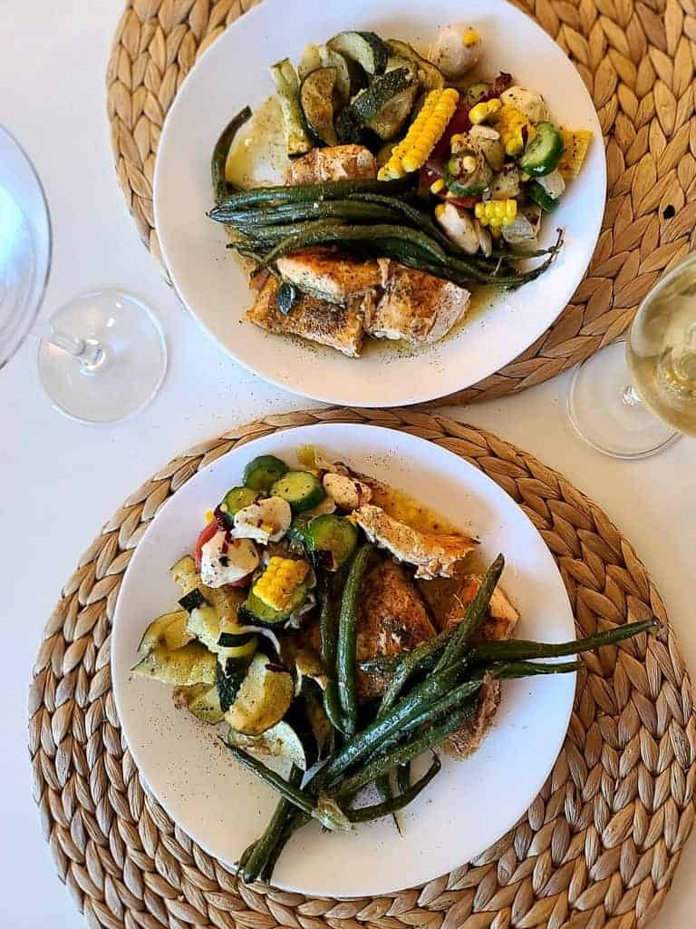one dish salmon and vegetables