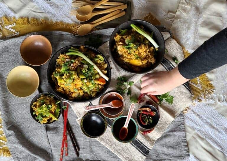 asian curried fried rice & chicken