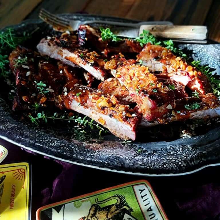almond crusted sticky smoky pork ribs