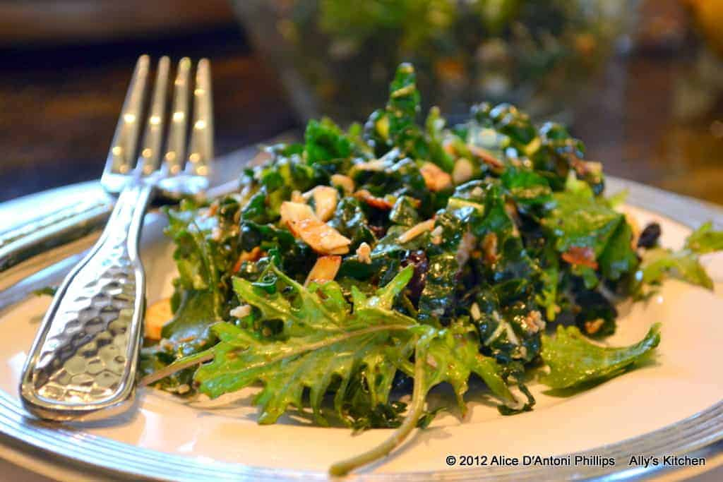 champagne honey kale currant almond salad