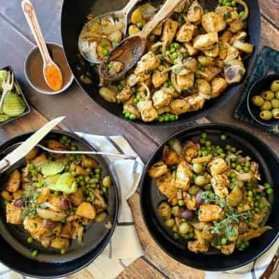 one skillet harissa chicken and vegetables