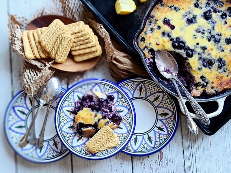 lemon blueberry ricotta custard