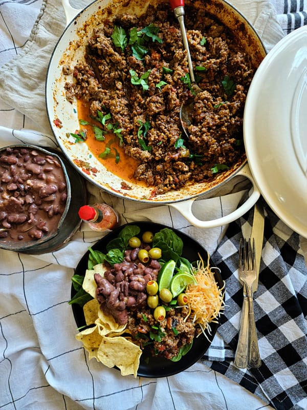 latin style pork picadillo